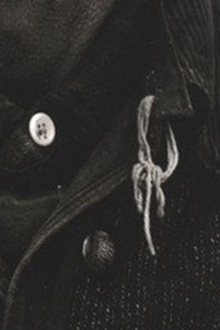 "Detail of the button from Paul Strand's ""Mr. Bennett, Vermont, 1944"""
